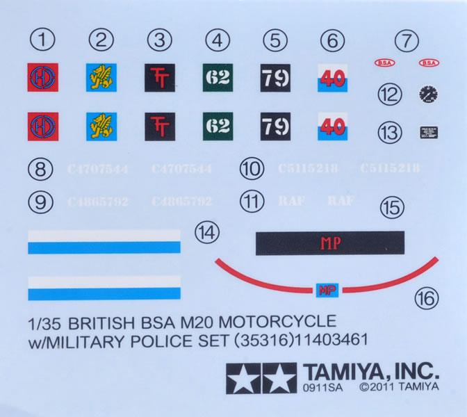 TAMIYA 35316 1//35 British BSA M20 Motorcycle w//Military Police
